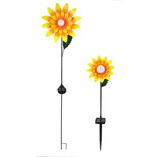 Attirant 2 Piece Rotating Sunflower Garden Stake Set