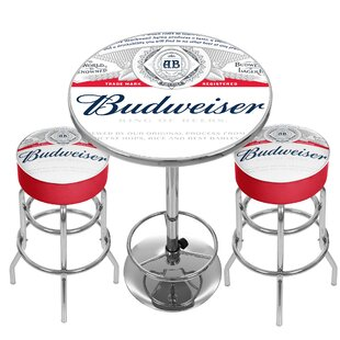 Budweiser Label Game Room Combo 3 Piece Pub Table Set Trademark Global