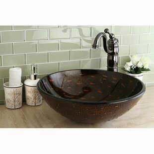 Kingston Brass Fauceture Glass Circular Vessel Bathroom Sink