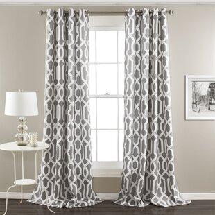 Vance Geometric Room Darkening Thermal Grommet Curtain Panels Set Of 2