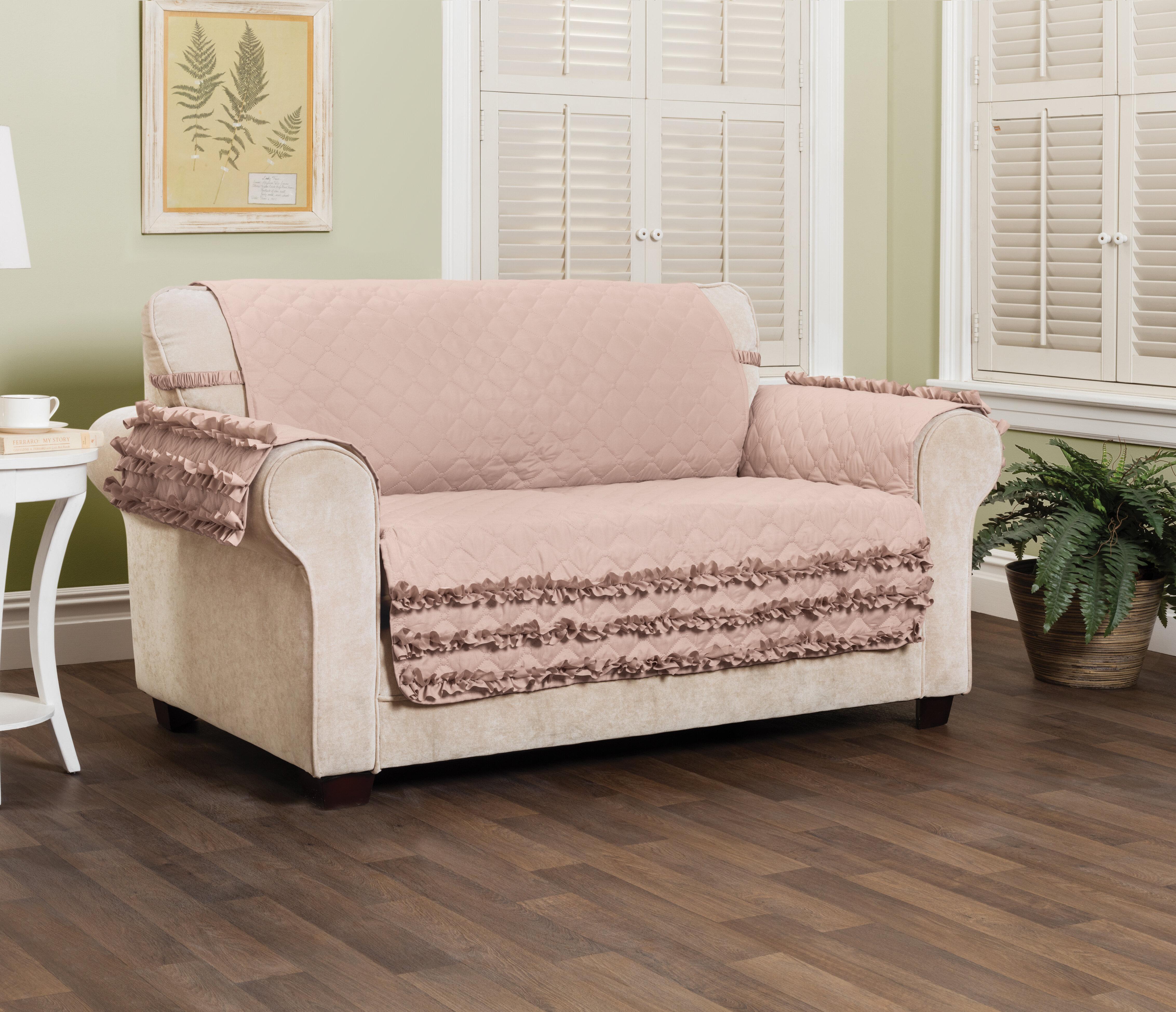 Pleasing Ruffled Box Cushion Loveseat Slipcover Pdpeps Interior Chair Design Pdpepsorg