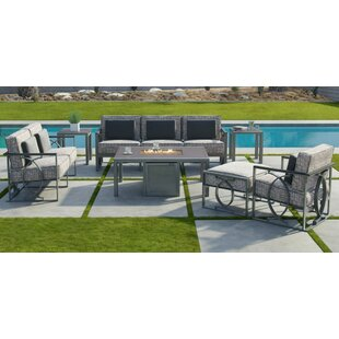 Sunrise 7 Piece Fire Pit Set Seating Group with Sunbrella Cushions by Leona