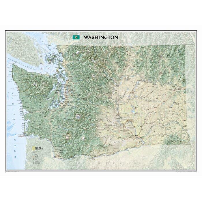 National Geographic Maps Washington State Wall Map | Wayfair.ca on