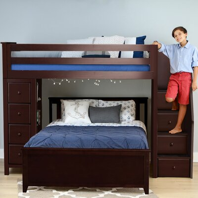 Ayres L-Shaped Bunk Beds with Drawers and Bookcase Harriet Bee