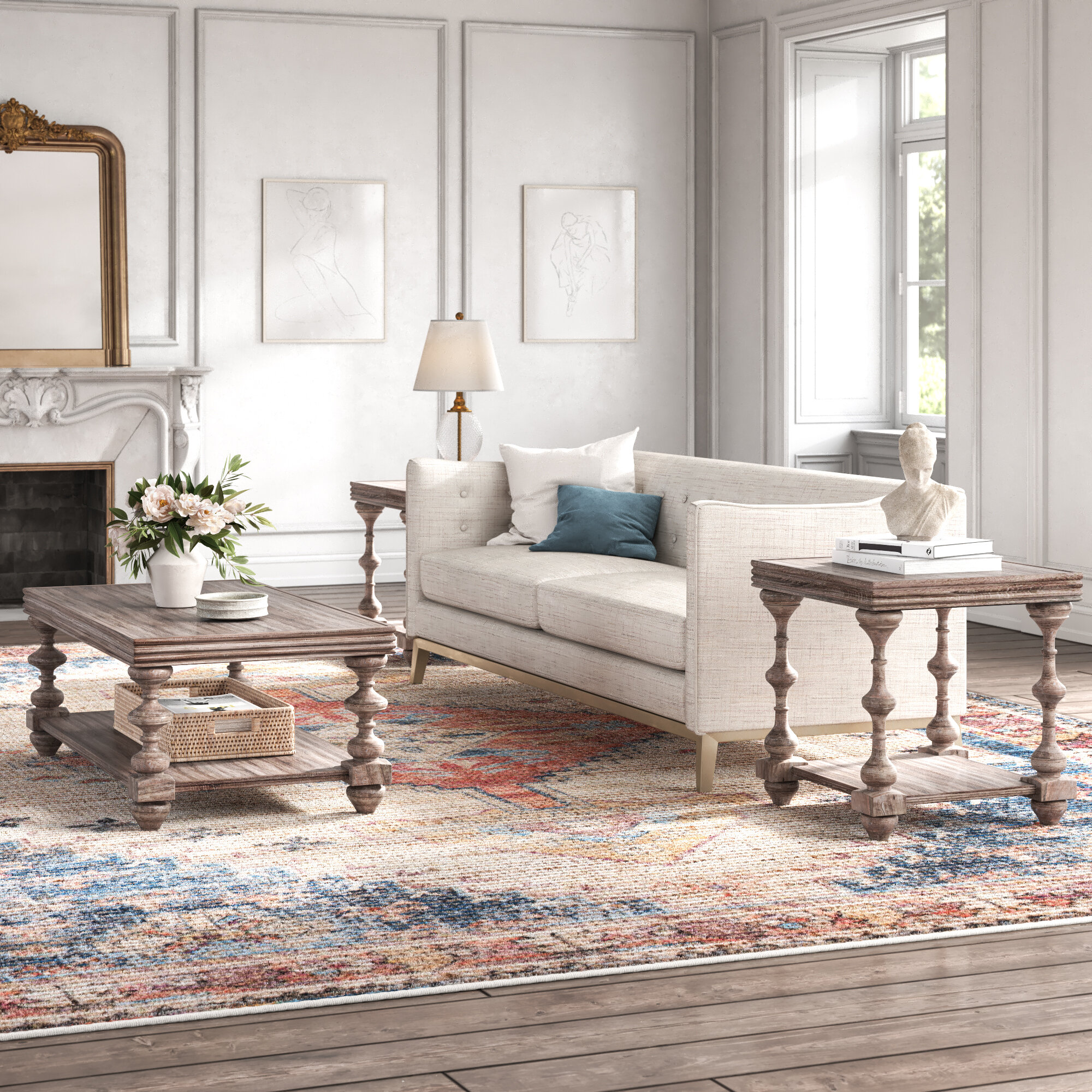 Kelly Clarkson Home Audio Upholstery 3 Piece Coffee Table Set Reviews Wayfair