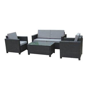 Wrought Studio Cross Wicker Indoor/Outdoor Comfortable 4 Piece Rattan Sofa Seating Group with Cushions