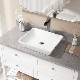 Comparison Vitreous China Rectangular Vessel Bathroom Sink with Faucet ByMR Direct