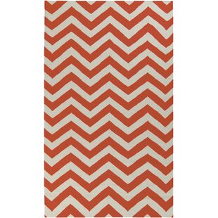 Online Reviews Lowery Rust Red/Papyrus Chevron Area Rug By Ebern Designs