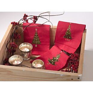 Naveen Christmas Tree Linen Hand Towel (Set of 4)