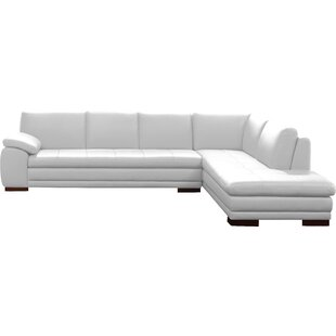 Modern & Contemporary Cream Leather Sectional | AllModern