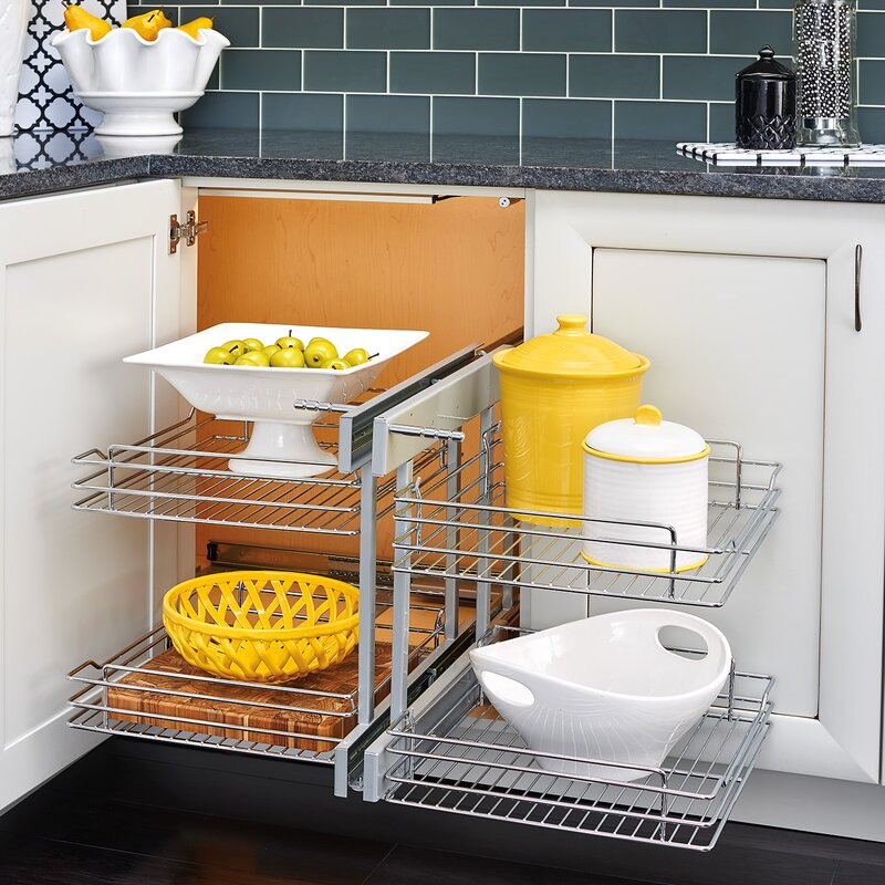 Blind Corner Cabinet Pull Out Chrome 2 Tier Basket Organizer