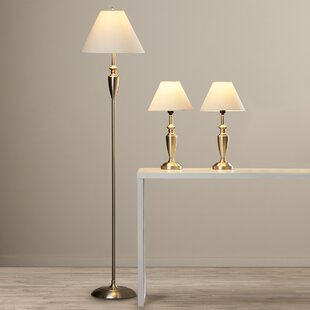 Maude 3 Piece 63.5'' Table and Floor Lamp Set