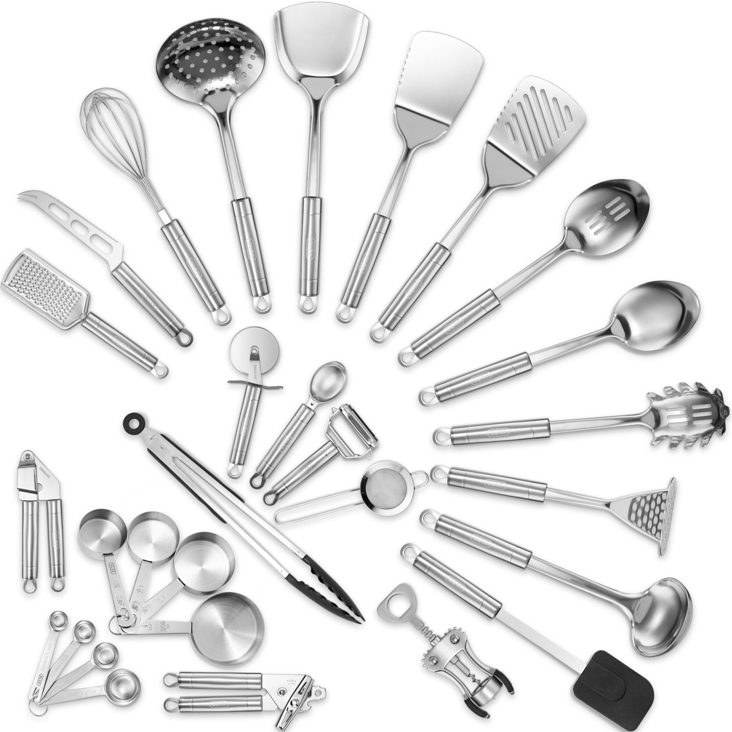 Klee 12-Piece Delux Stainless Steel Assorted Kitchen Utensil Set