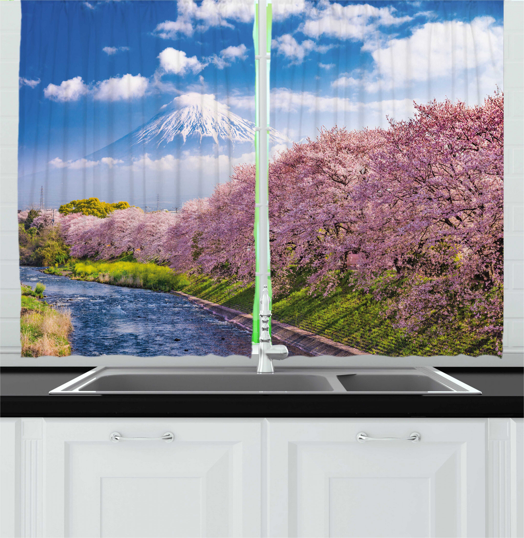East Urban Home 2 Piece Ambesonne Mountain View Of River And Clear Sky With Cherry Blossoms Kitchen Curtain Set Wayfair