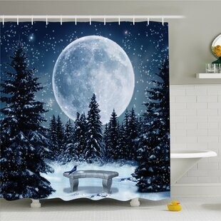 Winter Dreamy Winter Night with a Big Full Moon and Stars Lights the Darkness Shower Curtain Set