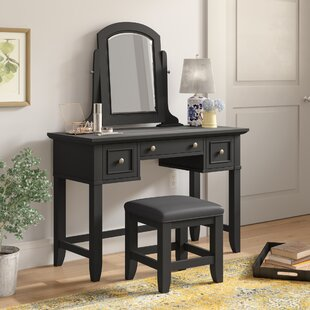 Alcott Hill Marblewood Vanity Set with Mirror
