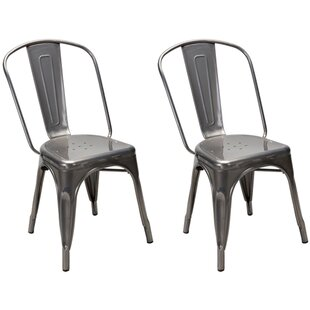 Gracie Oaks Dunamoy Metal Dining Chair (Set of 2)