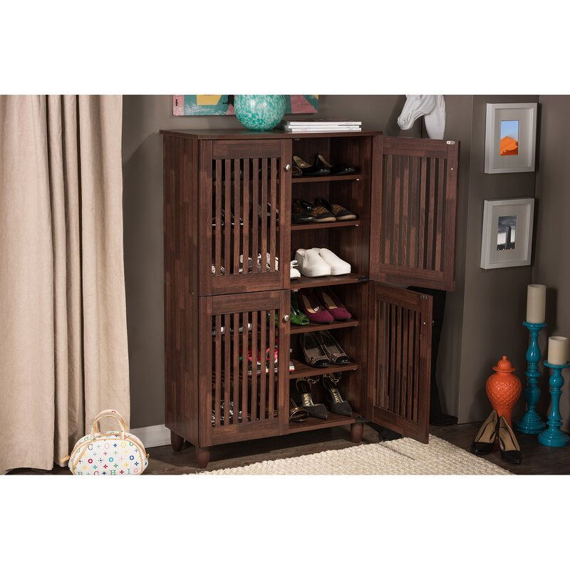 18 Pair Oak Shoe Storage Cabinet Darby Home