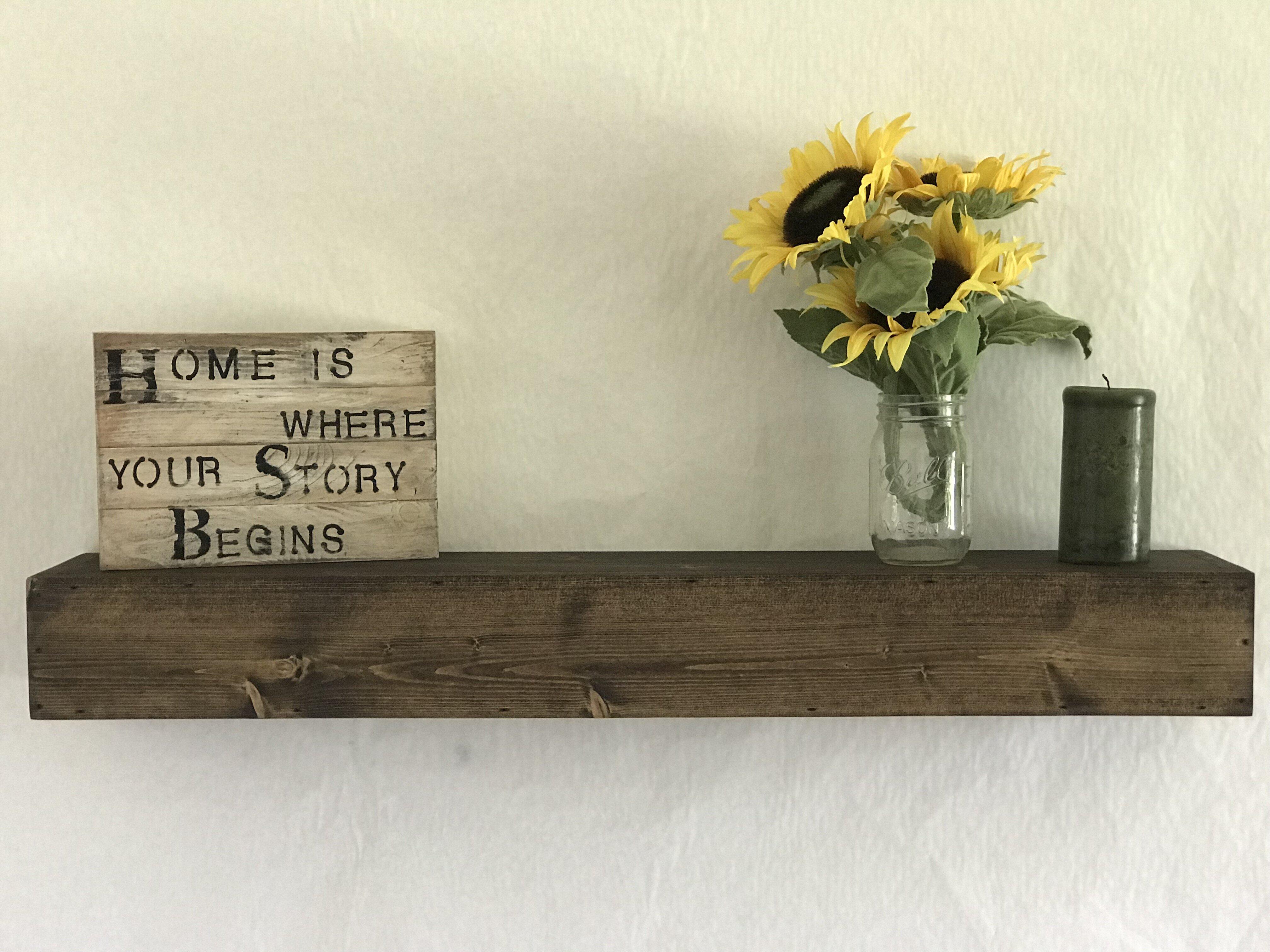 anabella pine solid wood floating shelf