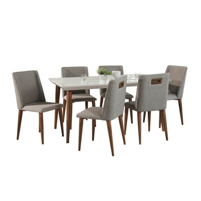 George Oliver Lemington 7 Piece Solid Wood Dining Set Color: White Gloss/Gray