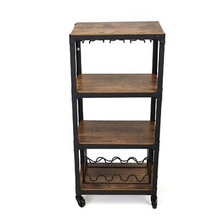 4 Tier Wood and Metal Bar Cart