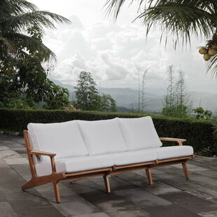 Berube Teak Patio Sofa with Cushions by George Oliver