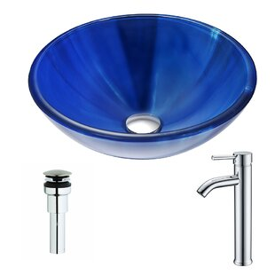 Meno Glass Circular Vessel Bathroom Sink with Faucet ANZZI