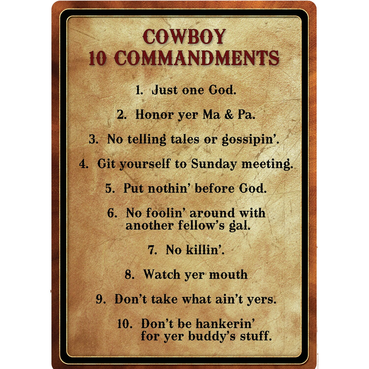River\'s Edge Products \'Warning Cowboy 10 Commandment\' Textual Art on ...