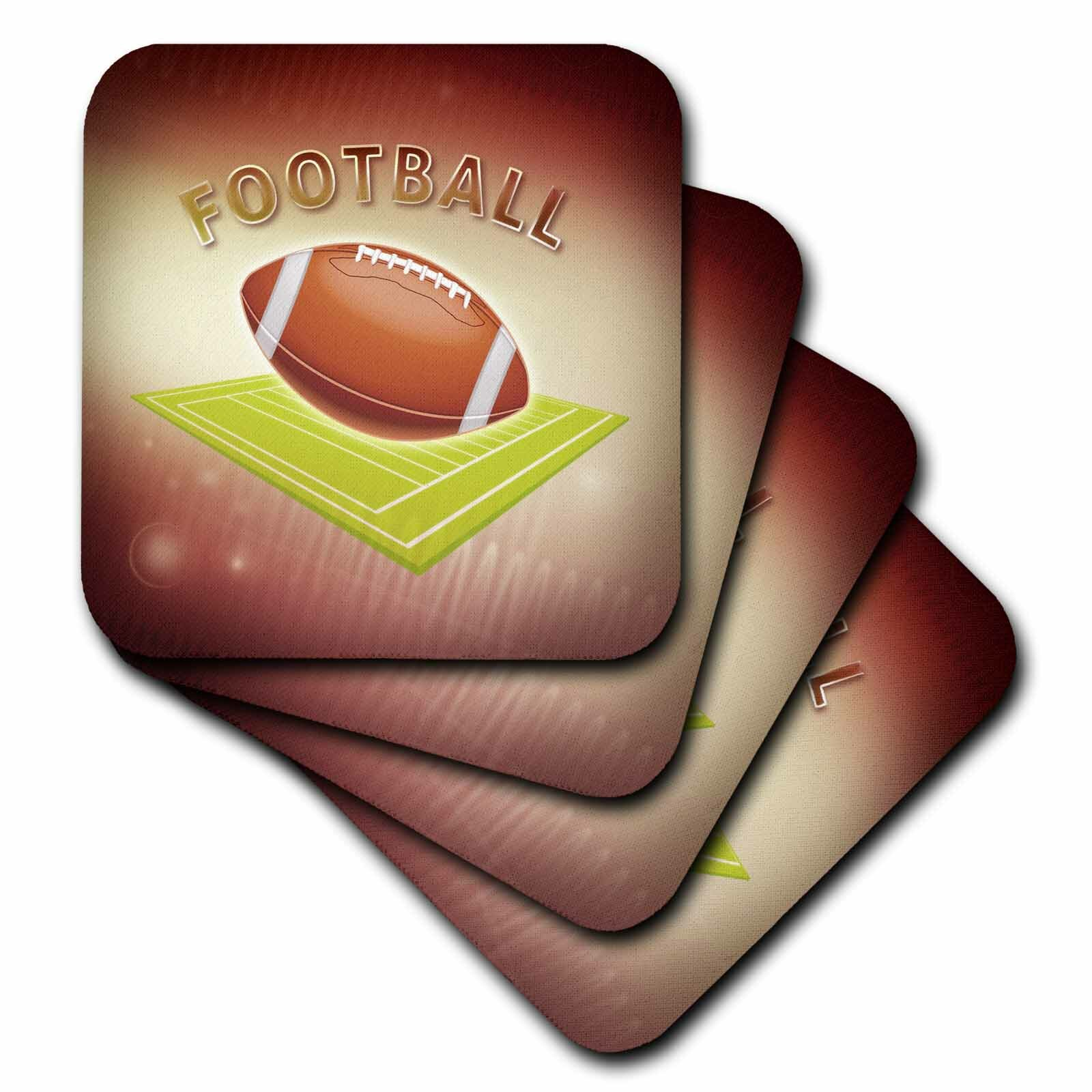 3drose Ceramic Tile Coasters Football Set Of 4 Cst 21981 3