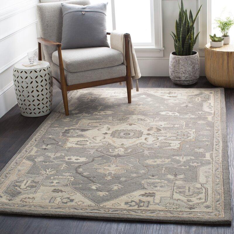 Charlton Home Soderlund Oriental Handmade Tufted Wool Charcoal Taupe Area Rug Reviews Wayfair