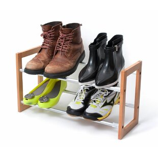 2-Tier Expandable Adjustable Wooden and Aluminum 12 Pair Stackable Shoe Rack Rebrilliant