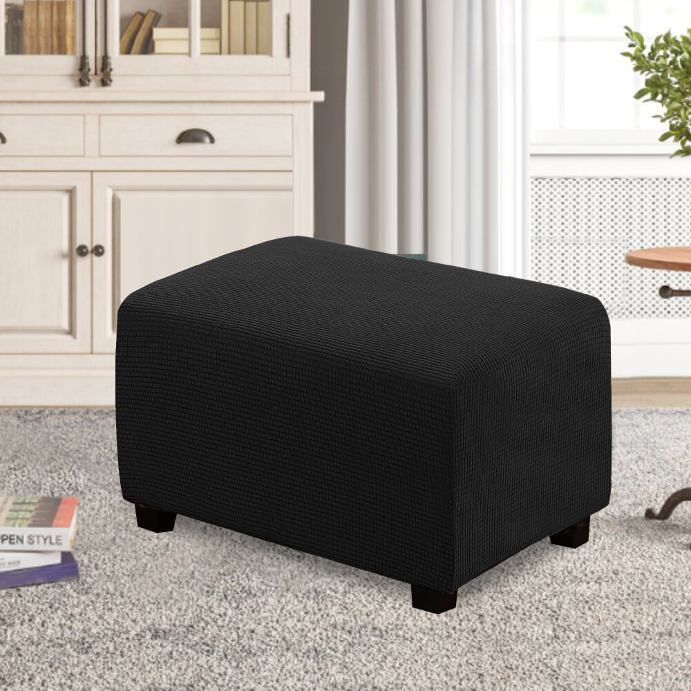 FORCHEER Ottoman Slipcover Oversized Customized Size Stretch Polyester Spandex Fabric Multiple Pattern Black