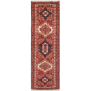 One-of-a-Kind Starbuck Geometric Persian Hand-Knotted 2'2 x 6'5 Wool Orange/Rust Area Rug by Bloomsbury Market