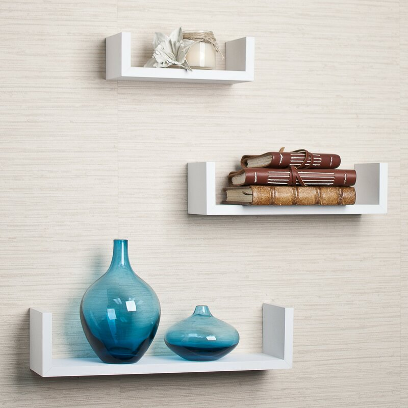 Floating Shelving mercury row colvard 3 piece floating shelf set & reviews | wayfair