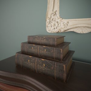 3 Piece Faux Leather Book Box Set