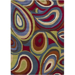 Red Plant Area Rug