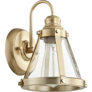 Best Review Douglass Circle Banded Cone 1-Light Armed Sconce ByBreakwater Bay