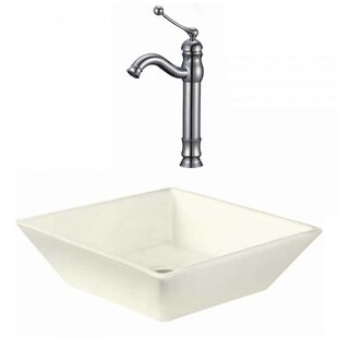 Inexpensive Ceramic Square Vessel Bathroom Sink with Faucet By Royal Purple Bath Kitchen