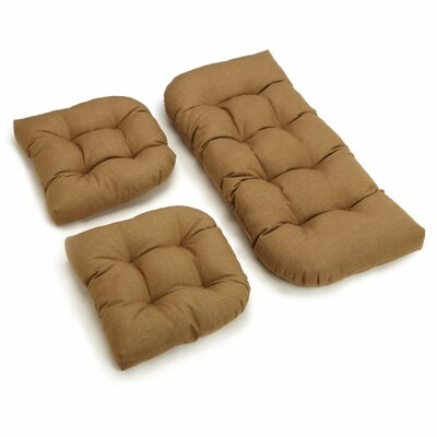 3 Piece Indoor/Outdoor Bench and Dining Chair Cushion Set Fabric: Wheat