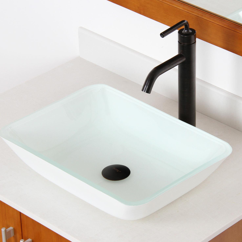 Elite Glass Rectangular Vessel Bathroom Sink