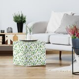 Frankie Van Mourik Cactus In Black And White Pots Standard Ottoman by East Urban Home