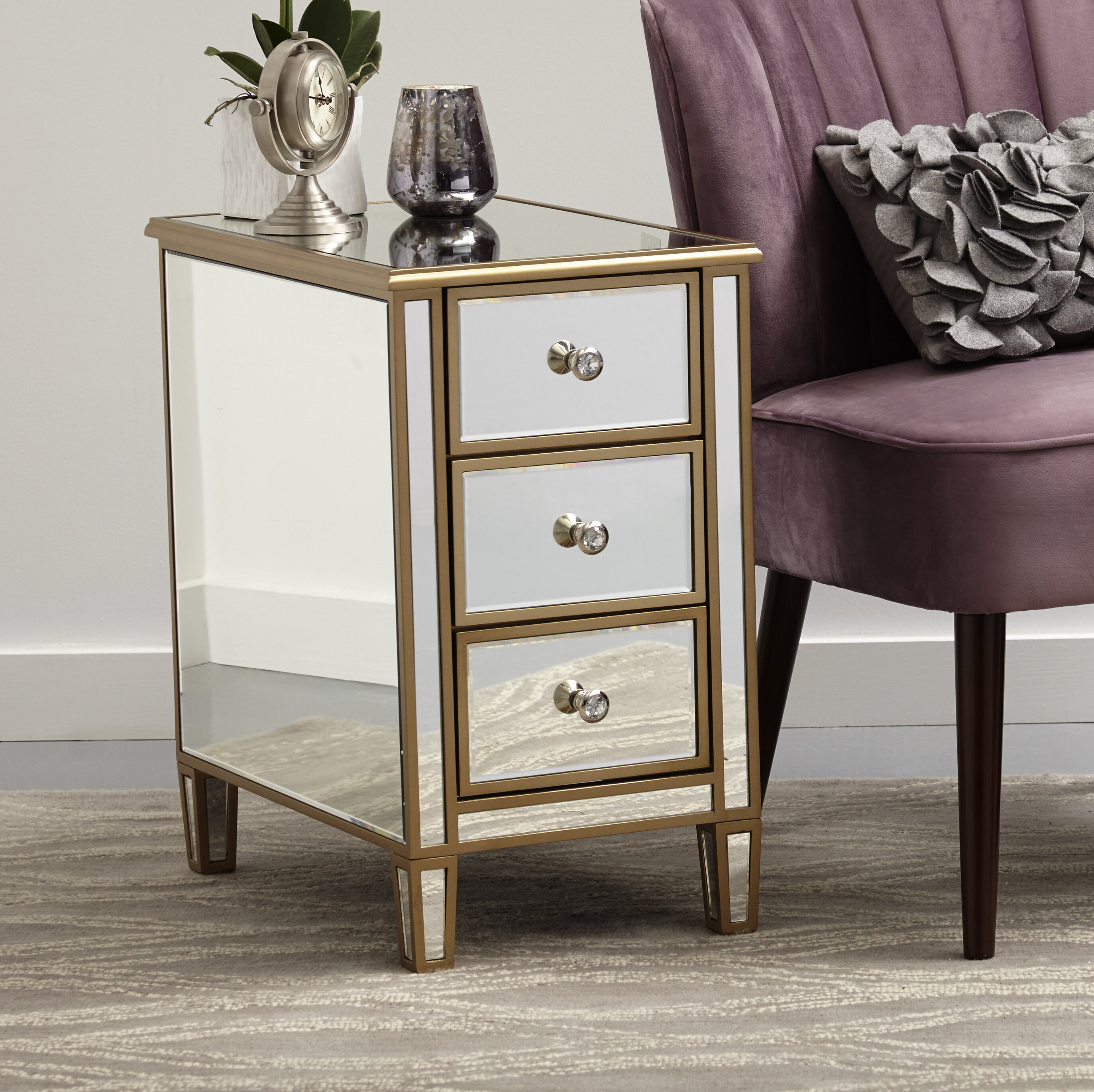 Garnett Mirrored End Table With Storage