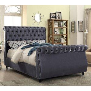 ruthanne velvet upholstered sleigh bed