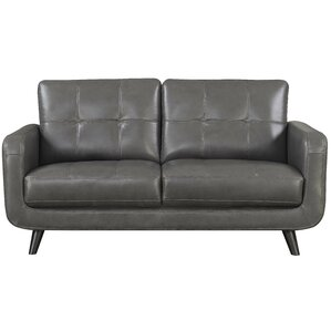 Basilica Leather Loveseat by Langley Street