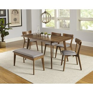 Rockaway 6 Piece Extendable Solid Wood Dining Set by Bungalow Rose Best Choices