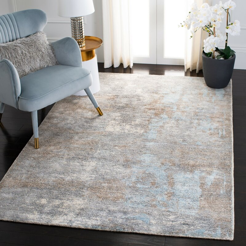 Williston Forge Dendron Abstract Handmade Tufted Gray Ivory Area Rug Wayfair Ca