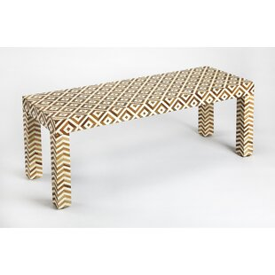 Aubriella Wood and Bone Inlay Bench