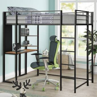 Isabelle Max Tradera Twin Loft Bed With Desk And Shelves Wayfair