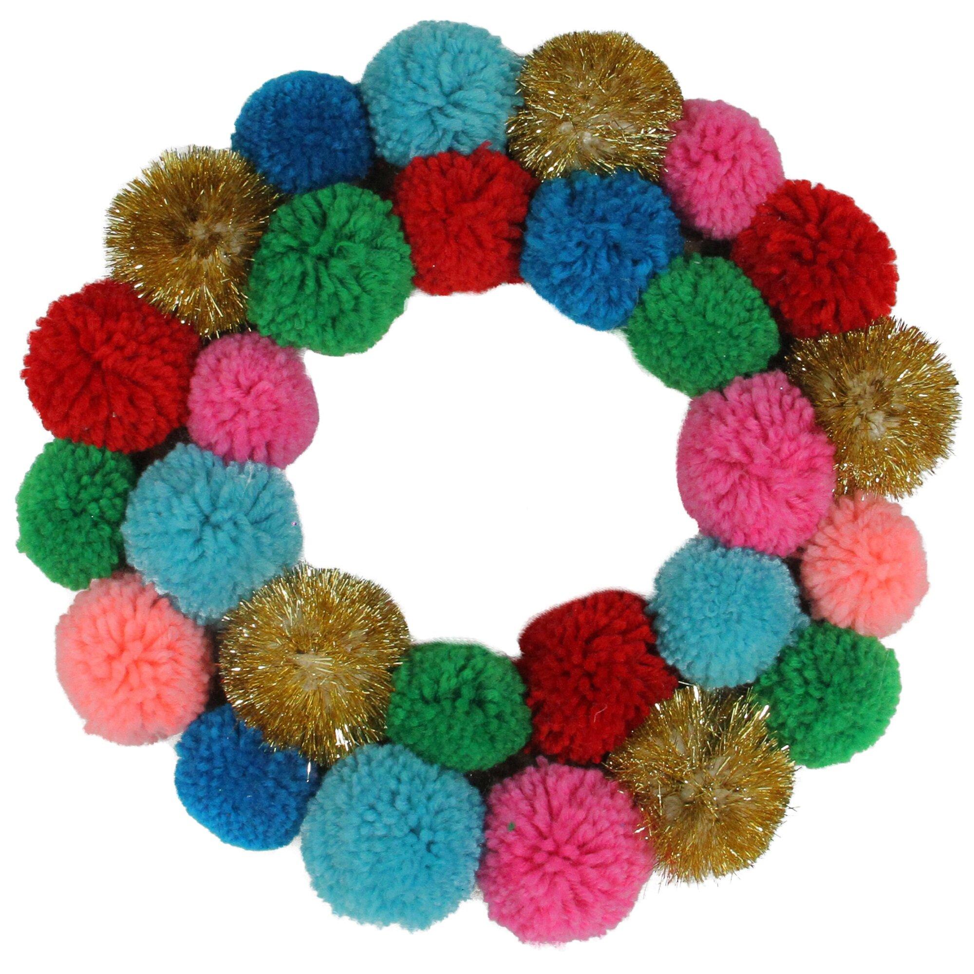 Northlight 11 5 Multi Color Bohemian Christmas Pom Pom Wreath Wayfair