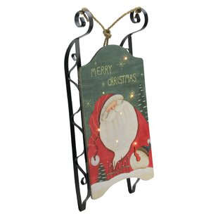 santa claus led decorative christmas sleigh wall hanging